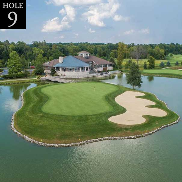 aerial view of hole #9 island green