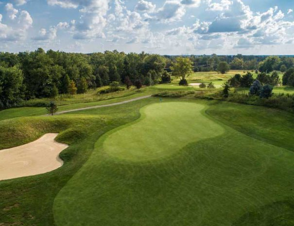 aerial view of hole 17 green