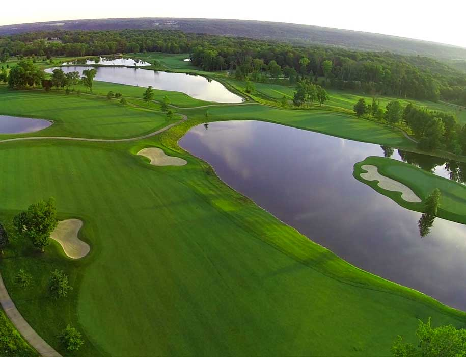 Arial shot of the 18th hole