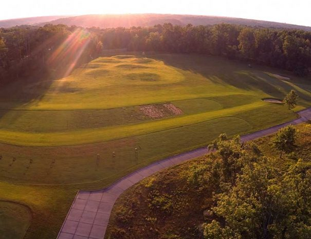 arial shot of the driving range