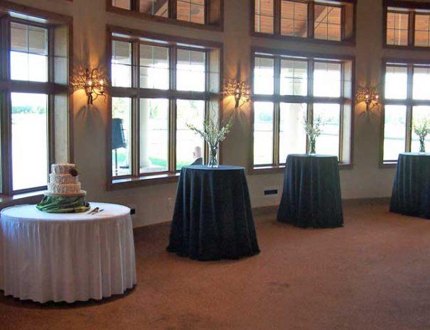 Wedding cake and gathering table set-up